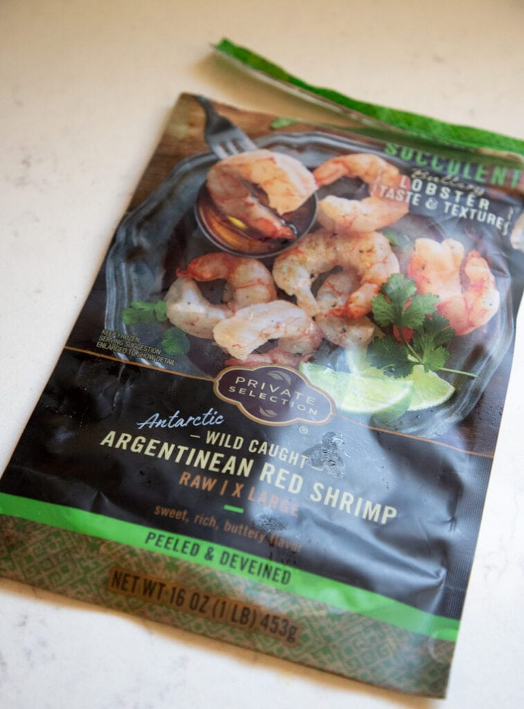 a bag of argenentian red shrimp