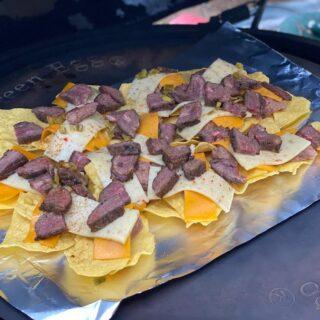 nachos on foil ready to smoke