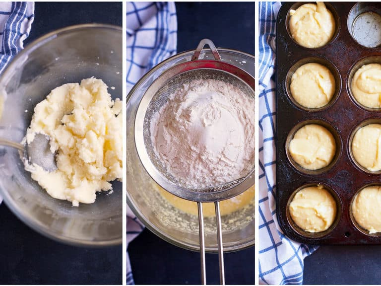 cream butter and sugar, sift in flour and baking powder, fill muffin tins or 8x8 pan for your homemade strawberry shortcake