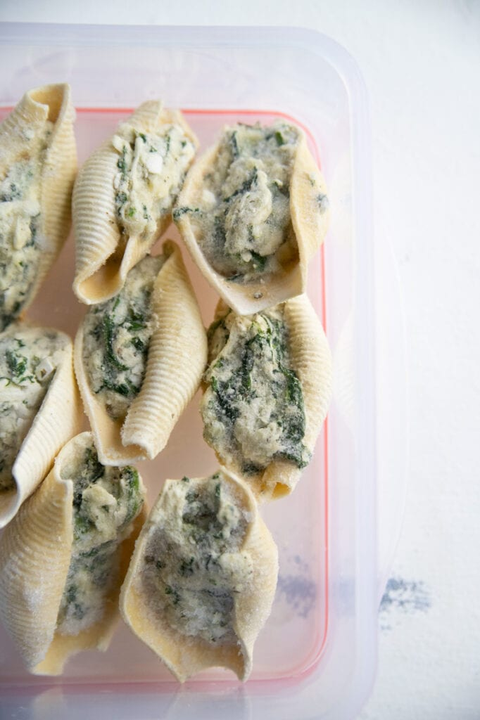 a container of frozen stuffed shells.