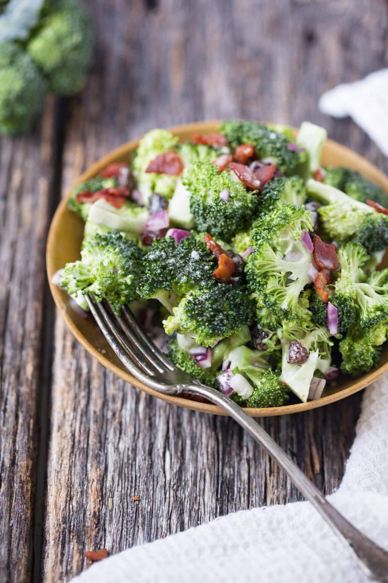 Tangy broccoli salad is a snap to put together and appeals to even the fussiest vegetable eater.
