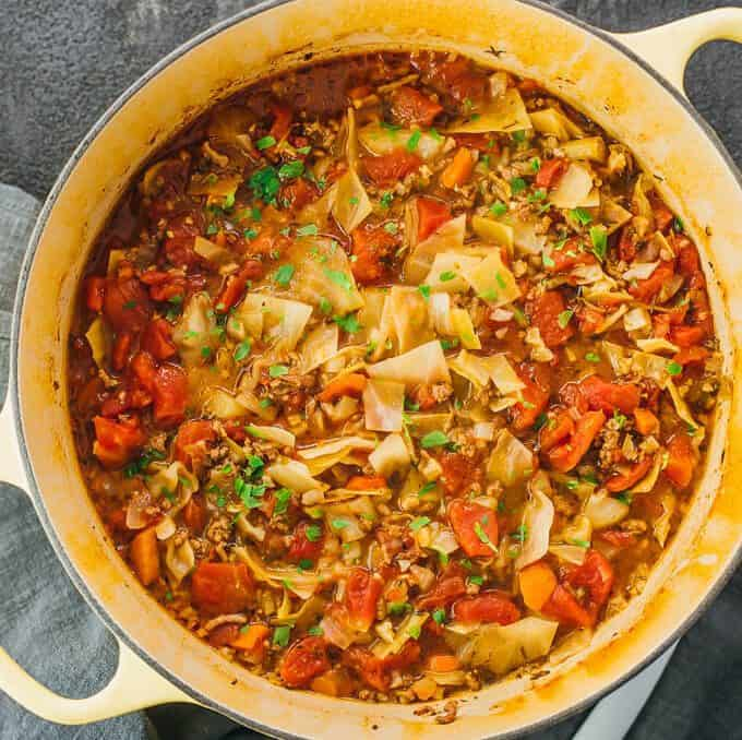 unstuffed cabbage roll soup in a pot