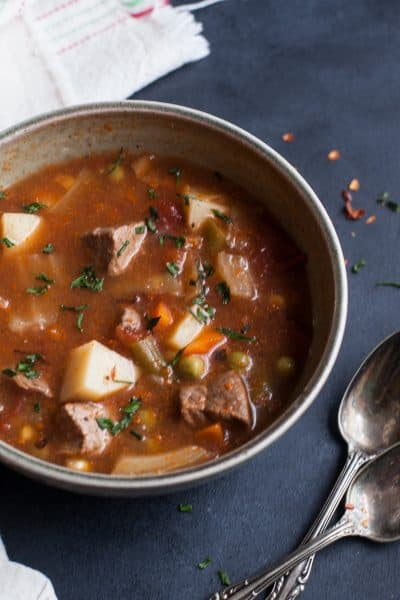 Bring the flavor of slow cooked goodness to your kitchen with this vegetable beef soup.
